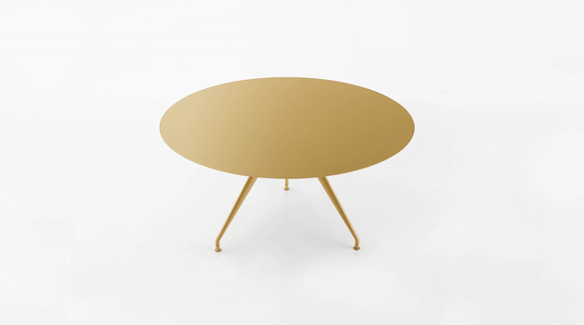 Manta table in round version with lacquered glass