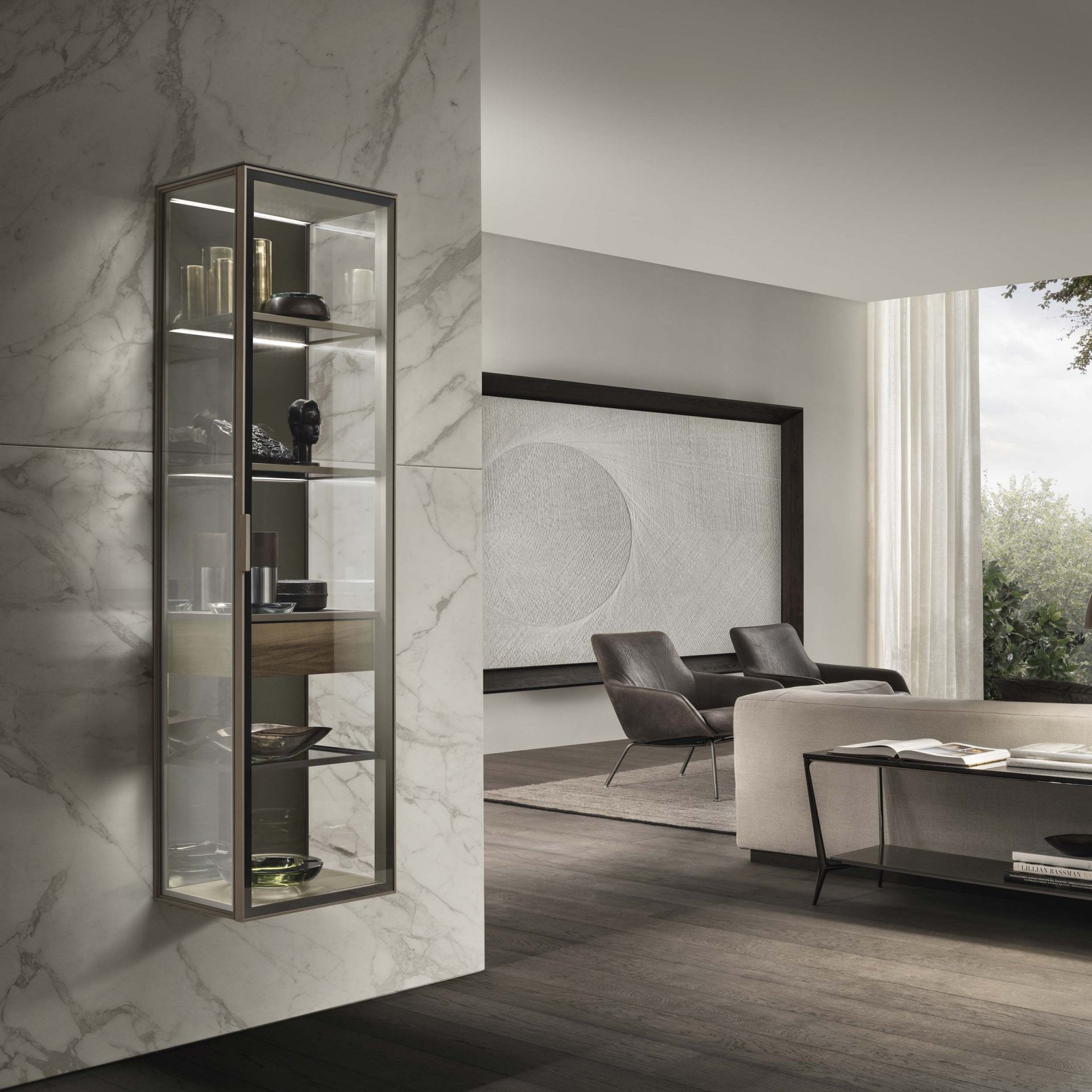 Suspended cabinet with hinged door